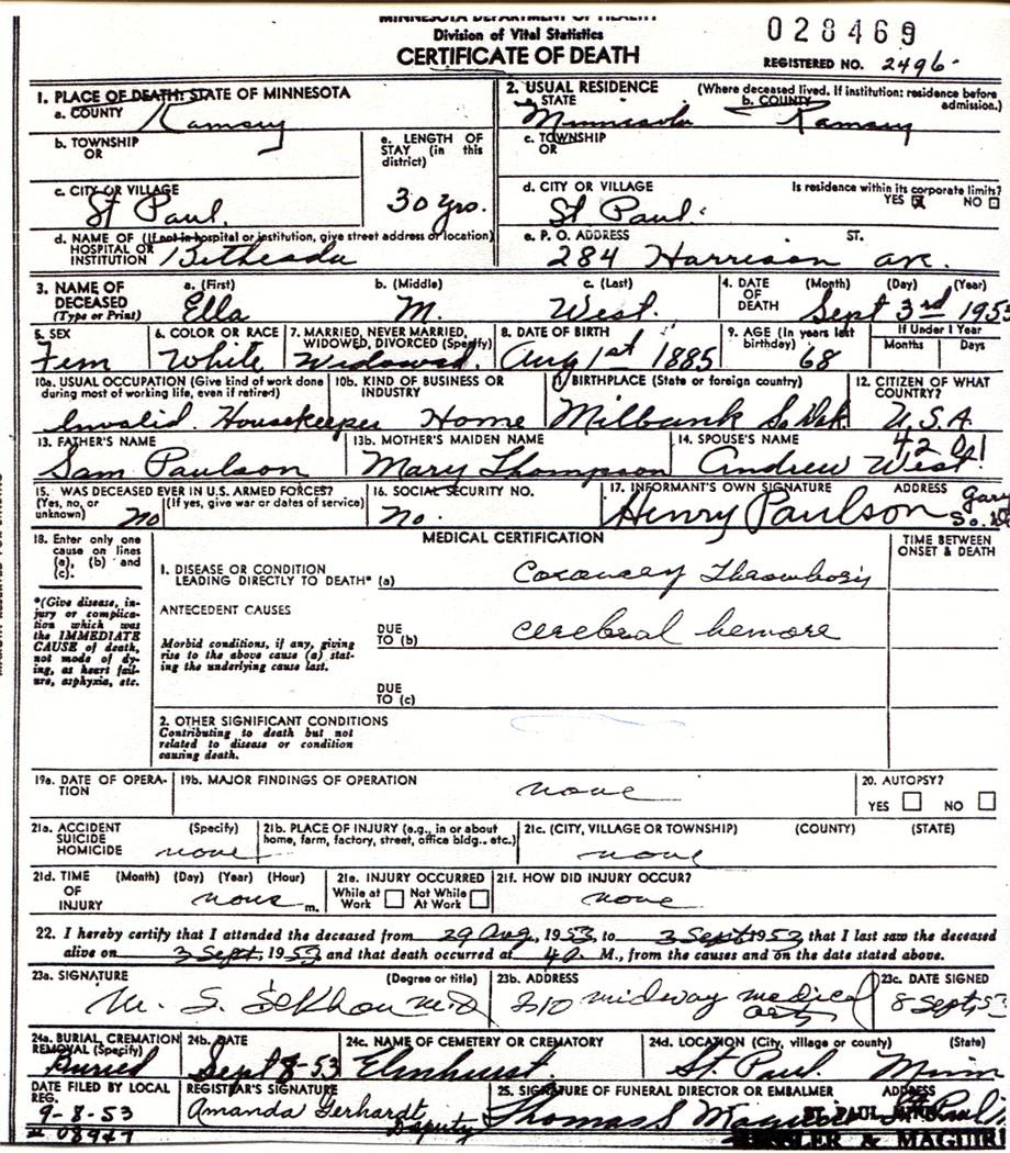 Paulsonvital obituary death certificate xflitez Gallery