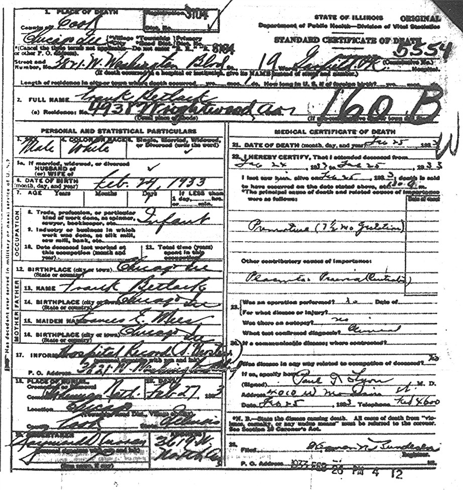 Illinoisbetlach burial record from the bohemian national cemetery chicago illinois aiddatafo Choice Image