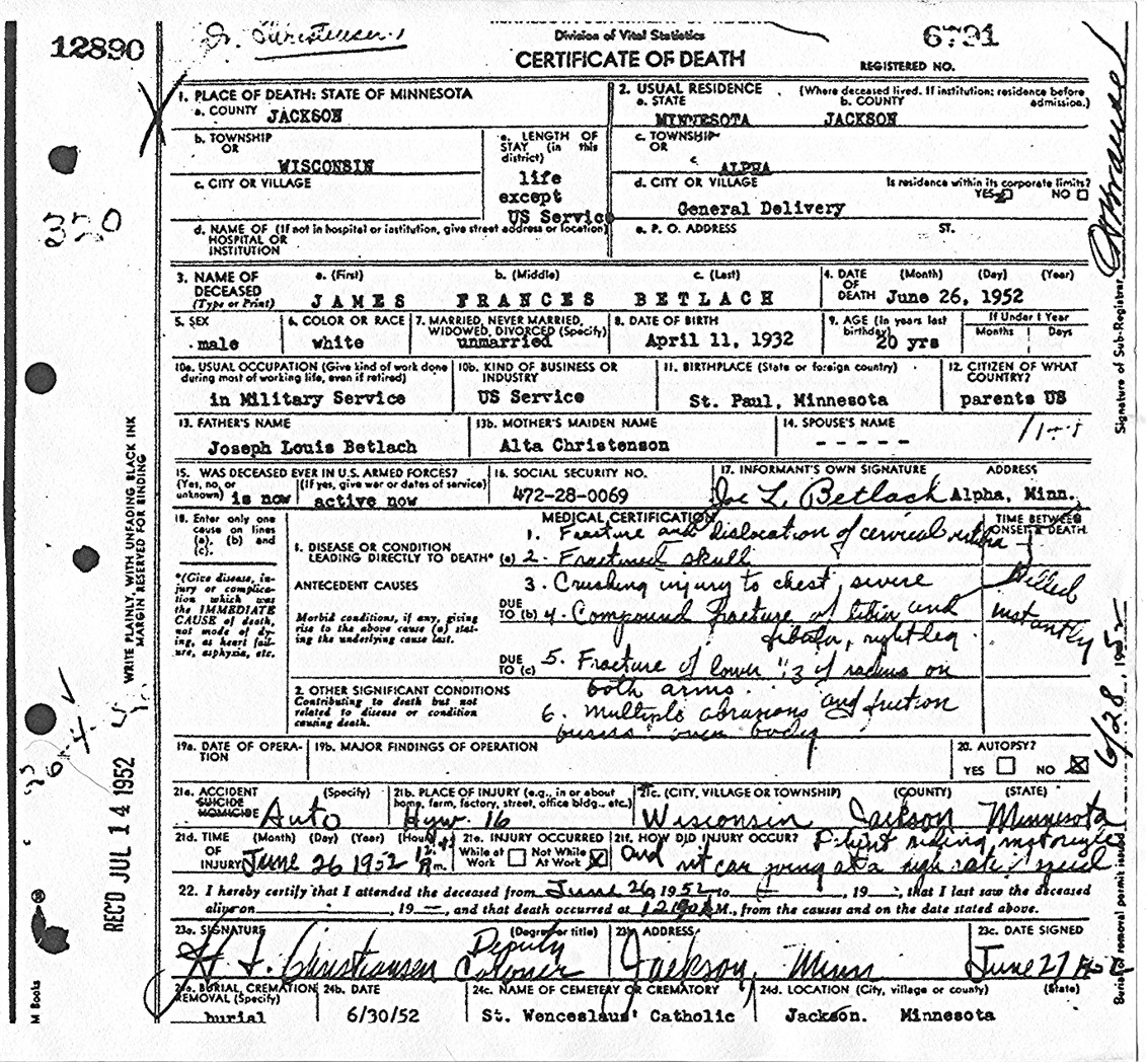 Jimmy death certificate aiddatafo Choice Image