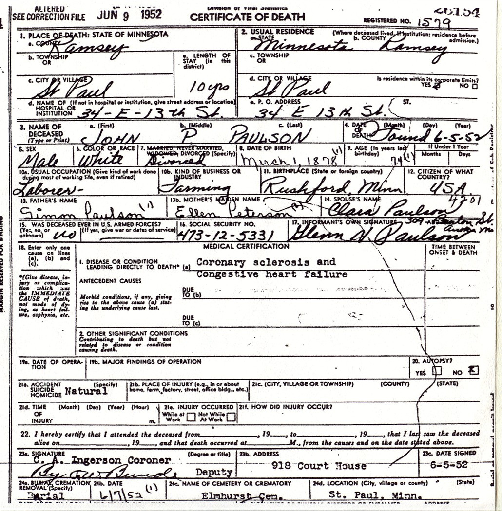 Paulsonvital obituary death certificate xflitez Image collections